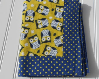 READY TO SHIP Owl Baby receiving 100% cotton flannel double-sided blanket with trim