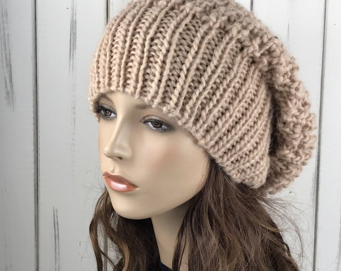 Hand knit woman hat - Oversized Chunky Wool Hat, slouchy hat, wheat hat