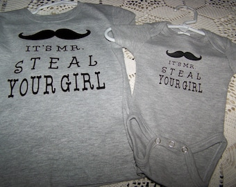 Mustache Mr Steal Your Girl Baby Boys Onesie Vinyl New Baby Baby Shower New Dad New Arrival Boys Shirt Funny Sayings Heat Press Fathers Day