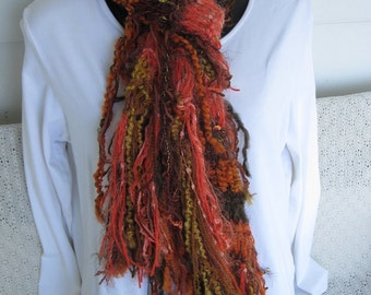 SUPER SALE Hand Knit Fringe Scarf Sunset over Quito Orange and Brown Flaming Autumn Glamorous Soft Fringe OOAK Hand Knit Fuzzy High Fashion