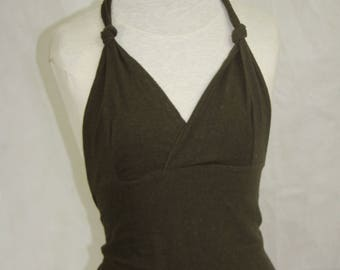 Hemp Pixie Point Halter Top.  Available in 2 colours... Gold or forest