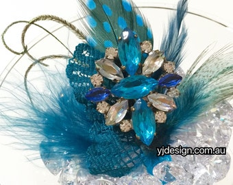 Something Blue Feather Bridal Hair Clip, Boho Bridal Fascinator, Vintage Wedding Headpiece, Crystal Necklace, Crystal Brooch, FEATHERTINI
