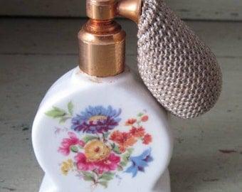 A Spray of Flowers - Pretty China Perfume Atomizer - 1970's