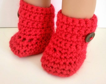 18 inch doll boots, Red AG doll shoes, hand crochet doll clothes, doll accessories