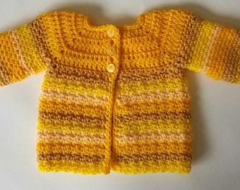 Baby Cardigan, new baby striped sweater yellow wool acrylic, 16in 0-3 months baby jumper, hand crochet baby clothes, spring baby