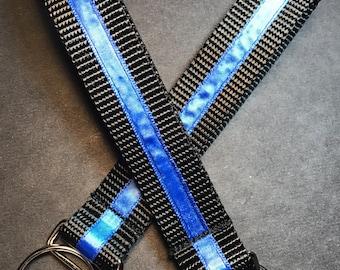 Thin Blue Key Fobs - Set of 2 Nylon  Key Fob with Blue Satin Ribbon.
