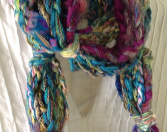 Crochet scarf, women's Bohemian long wild chunky colorful knit, pink teal blue green purple gray gold olive, Lhasa Boho cotton wool i730