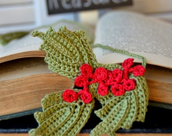 Christmas Bookmark-Holly Bookmark-Handcrafted Holly Berries Bookmark-Handmade Christmas Bookmark