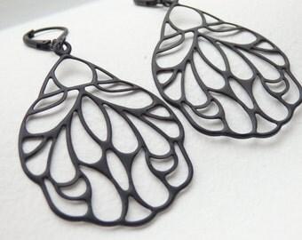 Butterfly Wing Black Earrings
