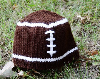 Hand-knitted football hat