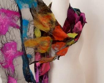 Nuno felted Merino Silk scarf wrap by plumfish black and brights silk merino scarf
