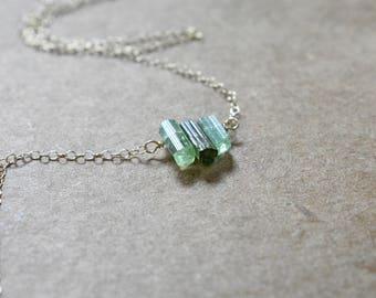 natural green blue tourmaline gemstone crystal sticks bar necklace pendant. natural raw tourmaline crystal 'tiny' bar necklace