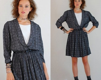 sale 25% rainy days sale Secretary Mini Dress Vintage Black and White Floral Print Blouson Indie Preppy Secretary Dress (m l)