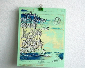 CLIFFHANGER #20 colorful summer beach print in vibrant hues by Kathryn DiLego