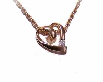 Vintage 14K Gold & .10CT Diamond Solitaire Heart Pendant