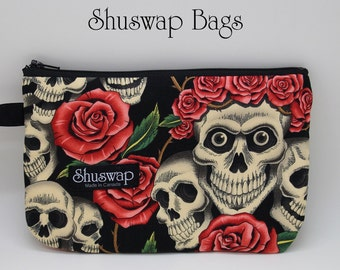 Skulls and Roses Wristlet and Mirror Set