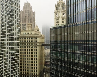 Chicago Buildings in Fog Original Color Photograph Home Decor Gift