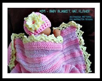 CROCHET BABY PATTERN, Blanket-Hat-Flower, Easy beginner level, Crochet Blanket afghan, Crochet Hat, Crochet Flower, #1139, Crochet for baby