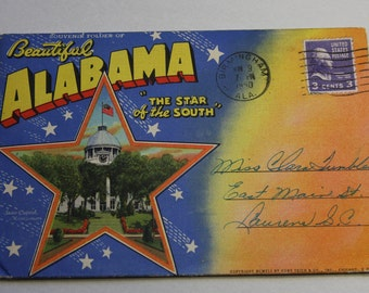 Vintage Fold Out Color Postcard- Alabama- Southern 1941 Travel Souvenir- Used with Stamp- Accordian Ephemera