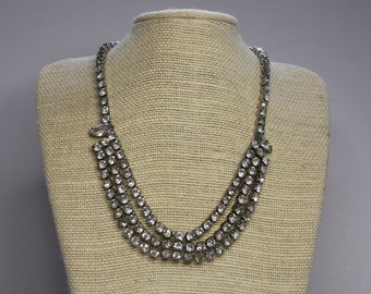 Vintage RHINESTONE Necklace- Sparkle Choker- 3 Tier- Broken Clasp- Jewelry Supply Parts- Glam Jewelry- Bling Stones