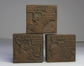 Vintage PRINTING BLOCK Collection Wooden Printer Block Lot- Copper Newspaper Printing- Advertising Plumbing Company