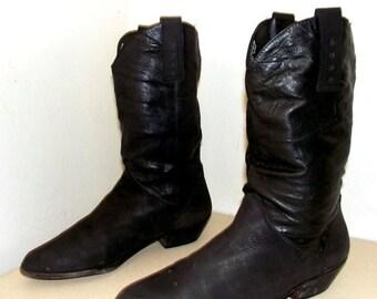 Nice Vintage Black Western Fashion Cowboy Boots size 12 M