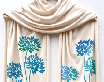 NEW Hand printed jersey scarf Natural/Blues