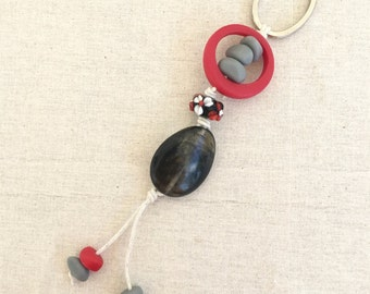 Key chain key ring black and red resin beads and lampwork glass bead key ring bag bling red black white grey mix for her