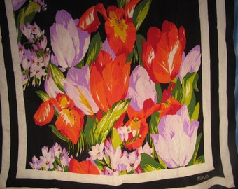 BILL BLASS VINTAGE Scarf, Original Bill Blass scarf with Flower Design,Vintage Tulip Design Original Bill Blass Ladies Square Scraf, Tulips