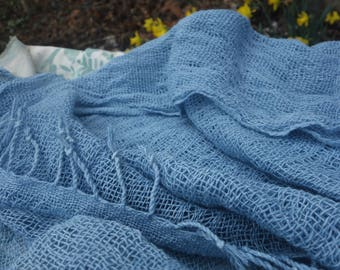 """Indigo Blue Scarf Loosely Handwoven Soft Cotton Scarf Natural Plant Dye 20""""x 65"""" Hand Dyed Light Blue Summer Scarf Lightweight Cotton Scarf"""
