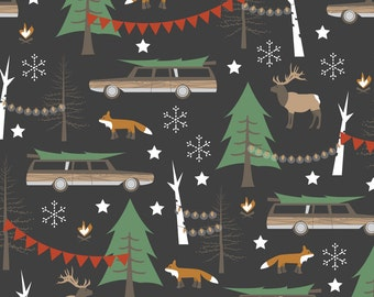 Retro Christmas Fabric - Station Wagon Christmas - Small Scale By Papercanoedesign - Holiday Cotton Fabric By The Yard With Spoonflower