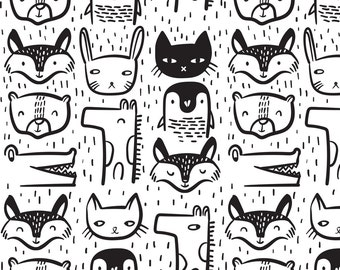 Modern Nursery Animal Fabric - Animal Faces By Weegallery - Black and White Nursery Decor Animal Cotton Fabric By The Yard With Spoonflower