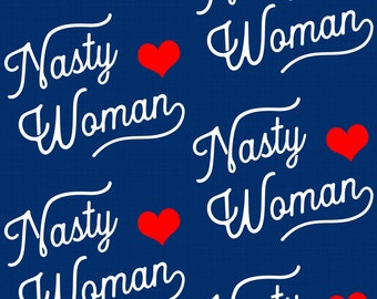Navy Feminist Fabric - Nasty Woman By Brainsarepretty - Womens March Cotton Fabric By The Yard With Spoonflower