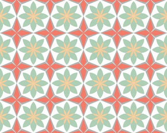 Coral + Mint Moroccan Fabric - Moroccan-Dust-Stars By Alexiazotos - Moroccan Geometric Cotton Fabric By The Yard With Spoonflower