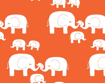Orange Elephant Fabric - Elephants (White On Orange) By Kendrashedenhelm - Baby Nursery Decor Cotton Fabric By The Yard With Spoonflower