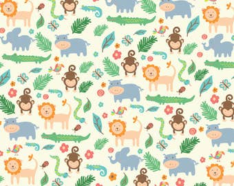 Kids Safari Fabric - In The Jungle By Shelbyallison - Gender Neutral Nursery Animal Safari Cotton Fabric By The Yard With Spoonflower