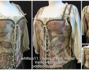 Odd Bodkin Venus Bodice in Ivory Pink Floral - Made to Order - whttap11