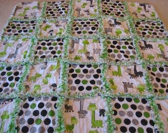 Giraffes Lime Green and Gray Boy or Girl Rag Quilt Blanket 35x35