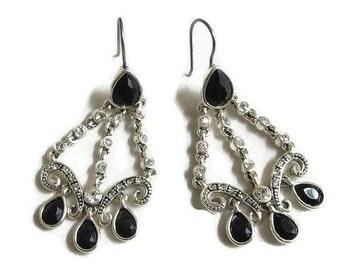 Vintage Black & Clear Rhinestones Dangle Earrings – Deco Style