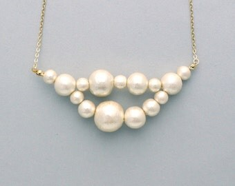 Cotton Pearl necklace  -  Awa - L