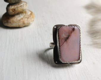 Pink LImb Cast Agate Ring