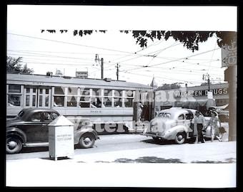 1945 Denver Colorado Reprint Photo Aurora Trolley Walgreen Drugs Car Truck Light