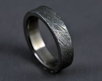 meteorite titanium wedding ring engagement ring gibeon meteorite ring - Meteorite Wedding Ring