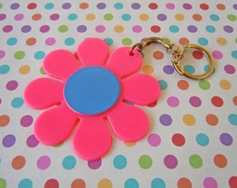 Vintage 1960's Hot Pink and Blue Flower Keychain Daisy Purse Accessory Stocking Stuffer