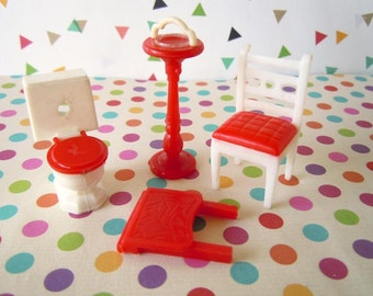 Vintage Tiny Dollhouse Miniature Furniture Red Toilet Chair and Standing Floor Ashtray Doll Toys