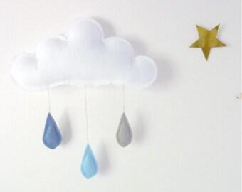 Cloud mobile- raincloud... Rain of colors....Denim blue,Baby blue, Grey  felt raindrops.
