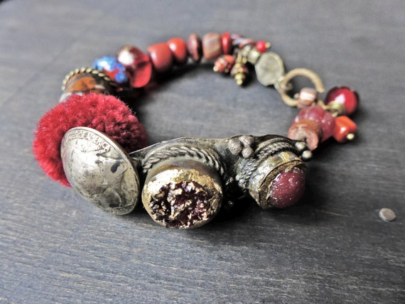 "Red tribal artisan bracelet, handmade mixed media art jewelry by fancifuldevices- ""The Cup that Holds your Wine"""