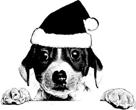 Christmas Puppy santa hat dog printable art christmas art vintage illustration Digital art Download black and white art printables
