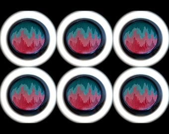 6 Czech Glass Buttons 35mm - 1 3/8 inch Mod Art LandScape Glass Buttons - Pink Red Teal Green on Black Glass - DESTASH LOT SPECIAL