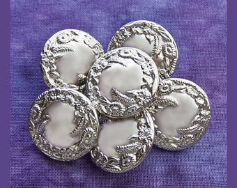 Floral Wreath Buttons, 19mm 3/4 inch - Shiny Silver Metal Flower Garland Buttons - 6 VTG NOS Embossed Silver Metal Flower Shank Buttons MT16